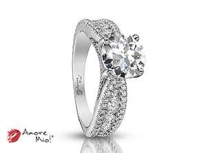Anillo de compromiso de oro blanco de 18k<br>Diamante  round de 1.40 quilates, Color-H,Claridad-VS2,Diamante Mejorado-None