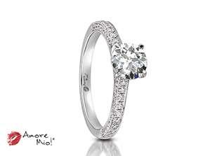 Anillo de compromiso de oro blanco de 18k<br>Diamante  round de 0.51 quilates, Color-J,Claridad-SI1,Diamante Mejorado-None