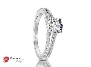 Anillo de compromiso de oro blanco de 18k<br>Diamante  round de 0.36 quilates, Color-L,Claridad-VS2,Diamante Mejorado-None