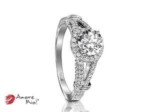 Anillo de compromiso de oro blanco de 18k<br>Diamante  round de 0.98 quilates, Color-G,Claridad-SI2,Diamante Mejorado-Clarity Enhanced
