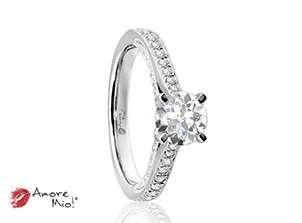 Anillo de compromiso de oro blanco de 18k<br>Diamante  round de 0.72 quilates, Color-G,Claridad-SI1,Diamante Mejorado-Clarity Enhanced