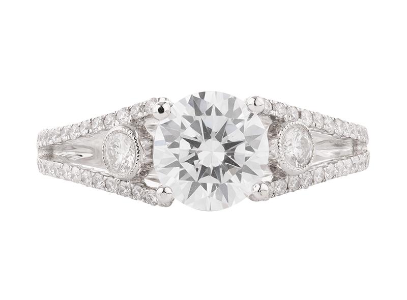Anillo de compromiso de oro blanco de 18k<br>Diamante  round de 1.22 quilates, Color-H,Claridad-SI2,Diamante Mejorado-None