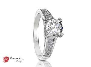 Anillo de compromiso de oro blanco de 18k<br>Diamante  round de 1.01 quilates, Color-E,Claridad-SI1,Diamante Mejorado-None