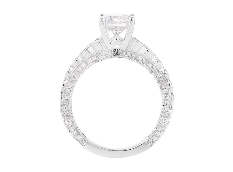 Anillo de compromiso de oro blanco de 18k<br>Diamante  round de 1.20 quilates, Color-F,Claridad-SI1,Diamante Mejorado-None