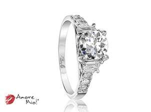 Anillo de compromiso de oro blanco de 18k<br>Diamante  round de 1.92 quilates, Color-I,Claridad-SI3,Diamante Mejorado-None