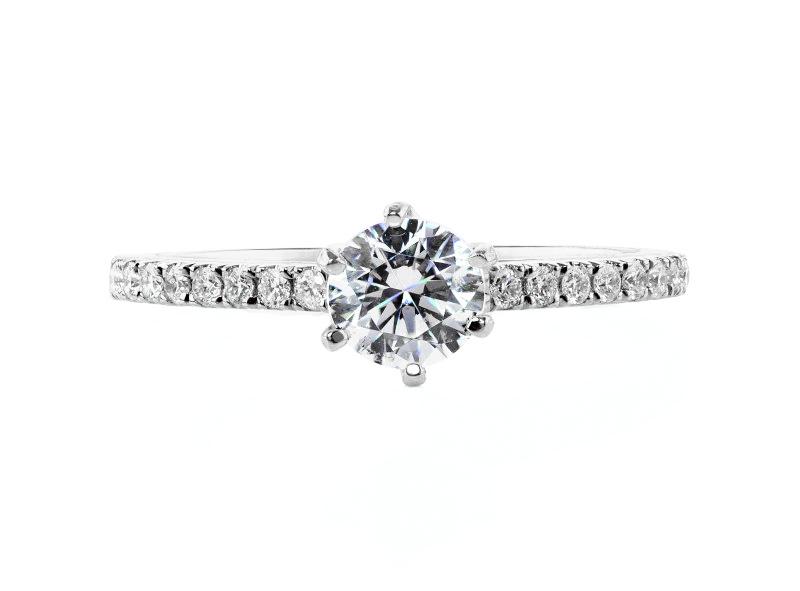 Anillo de compromiso de oro blanco de 18k<br>Diamante  round de 0.36 quilates, Color-Black,Claridad-I1,Diamante Mejorado-None