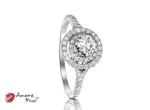 Anillo de compromiso de oro blanco de 18k<br>Diamante  round de 0.26 quilates, Color-I,Claridad-SI1,Diamante Mejorado-None