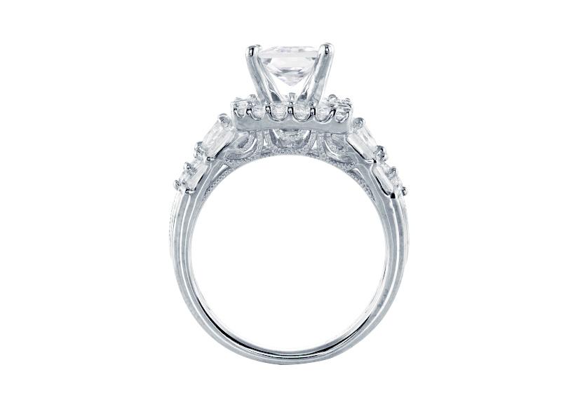 Anillo de compromiso de oro blanco de 14kt<br>Diamante  round de 1.20 quilates, Color-F,Claridad-SI1,Diamante Mejorado-None