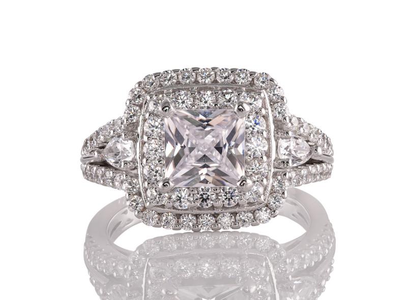 Anillo de compromiso de oro blanco de 14kt<br>Diamante  round de 1.40 quilates, Color-H,Claridad-VS2,Diamante Mejorado-None