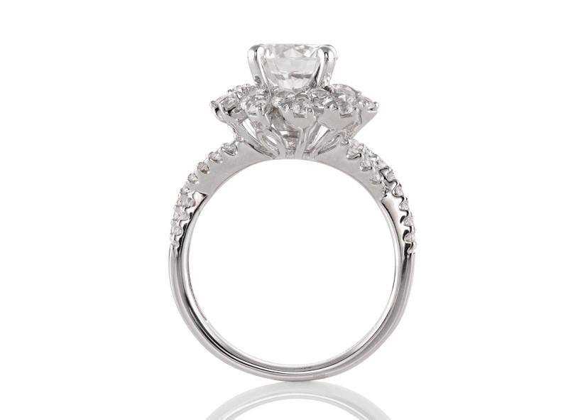 Anillo de compromiso de oro blanco de 14kt<br>Diamante  round de 1.22 quilates, Color-H,Claridad-SI2,Diamante Mejorado-None