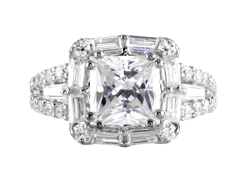Anillo de compromiso de oro blanco de 14kt<br>Diamante  round de 0.72 quilates, Color-G,Claridad-SI1,Diamante Mejorado-Clarity Enhanced
