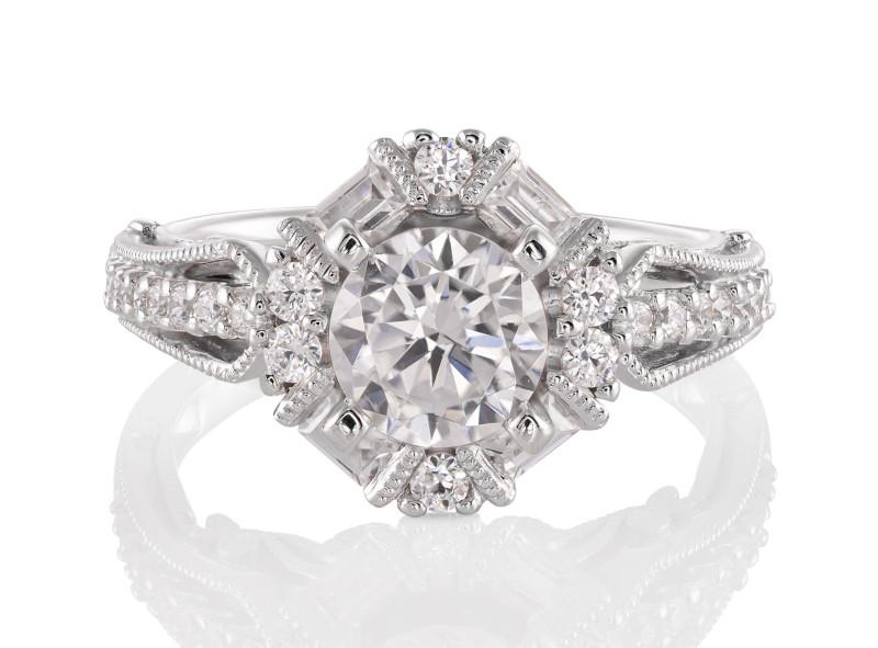 Anillo de compromiso de oro blanco de 14kt<br>Diamante  round de 1.00 quilates, Color-Black,Claridad-N/A,Diamante Mejorado-None