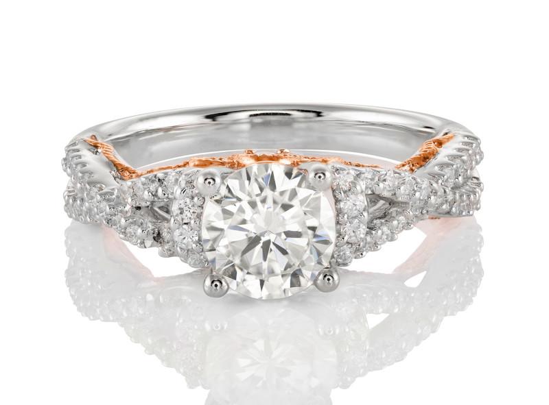 Anillo de compromiso de oro blanco & rosa de 14k<br>Diamante  round de 0.72 quilates, Color-G,Claridad-SI1,Diamante Mejorado-Clarity Enhanced