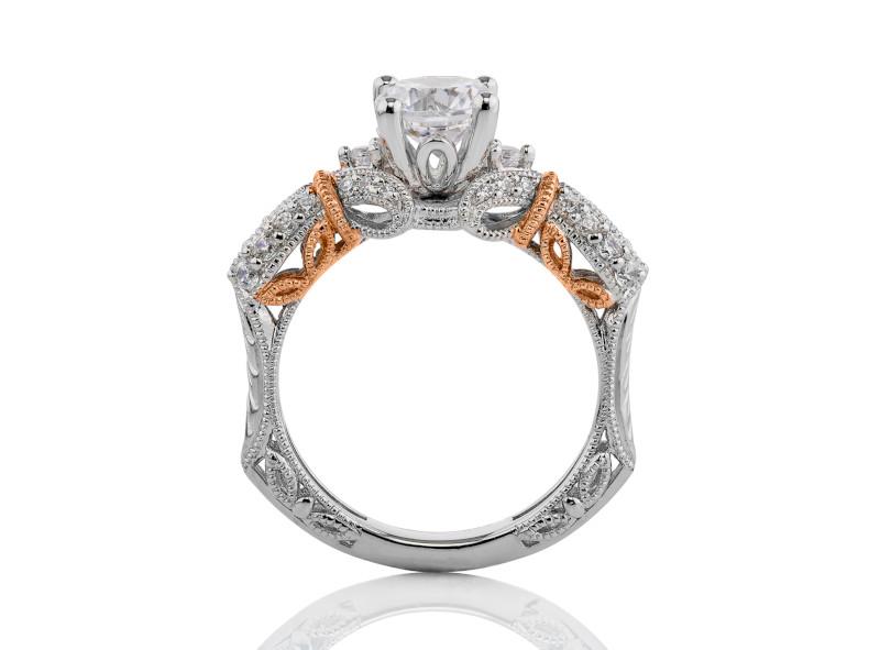 Anillo de compromiso de oro blanco & rosa de 14k<br>Diamante  round de 1.00 quilates, Color-Black,Claridad-N/A,Diamante Mejorado-None