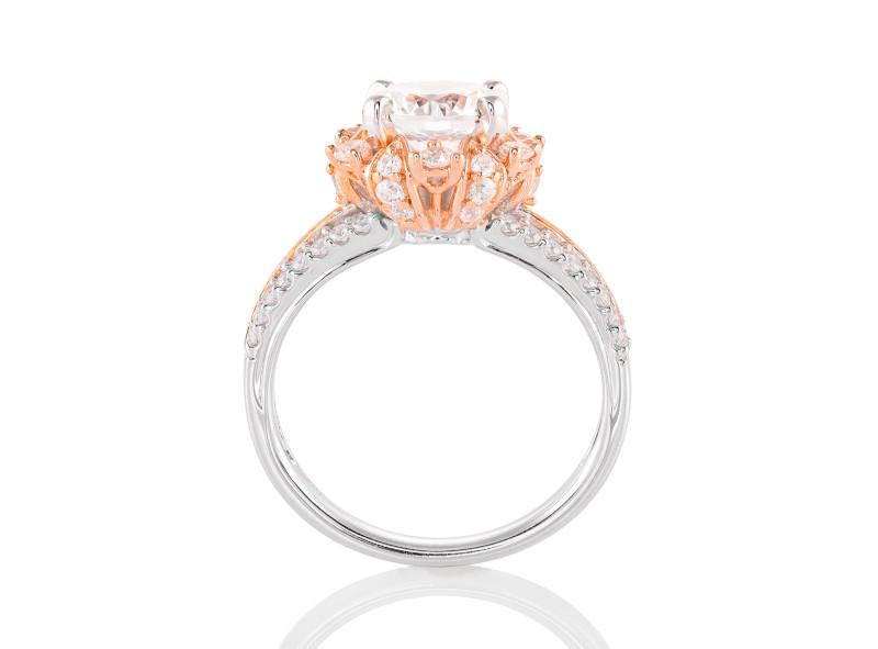 Anillo de compromiso de oro blanco & rosa de 14k<br>Diamante  round de 1.29 quilates, Color-I,Claridad-VS1,Diamante Mejorado-None