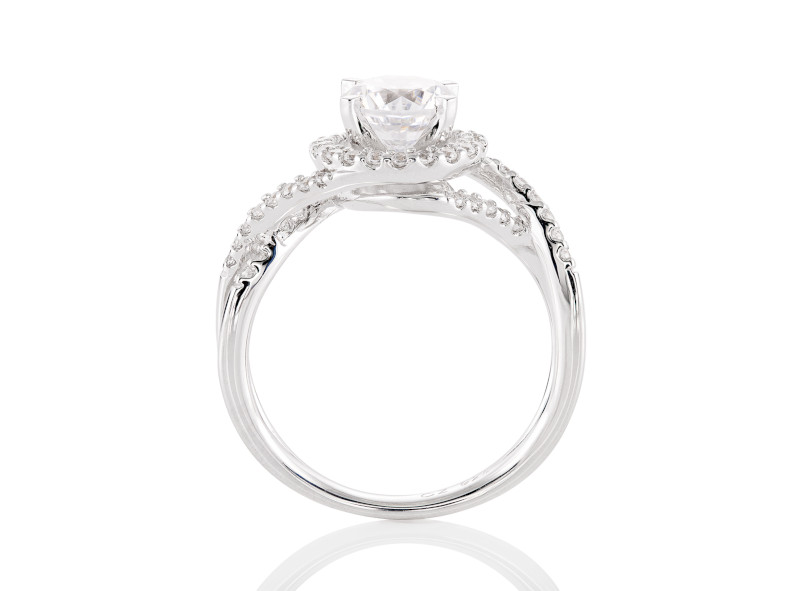 Anillo de compromiso de oro blanco de 14kt<br>Diamante  round de 0.70 quilates, Color-Black,Claridad-N/A,Diamante Mejorado-None