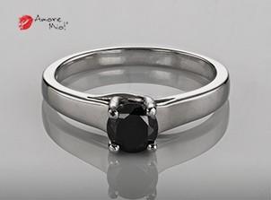 Anillo de compromiso de oro de 14k, con un diamante central de 0.43 puntos Color- Negro Claridad- N/A (44/56)