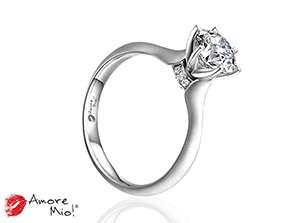 Anillo de compromiso de oro blanco de 18k<br>Diamante  round de 0.47 quilates, Color-Black,Claridad-I1,Diamante Mejorado-None