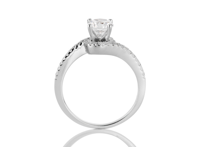 Anillo de compromiso de oro blanco de 14kt<br>Diamante  round de 0.15 quilates, Color-H,Claridad-VS1,Diamante Mejorado-None