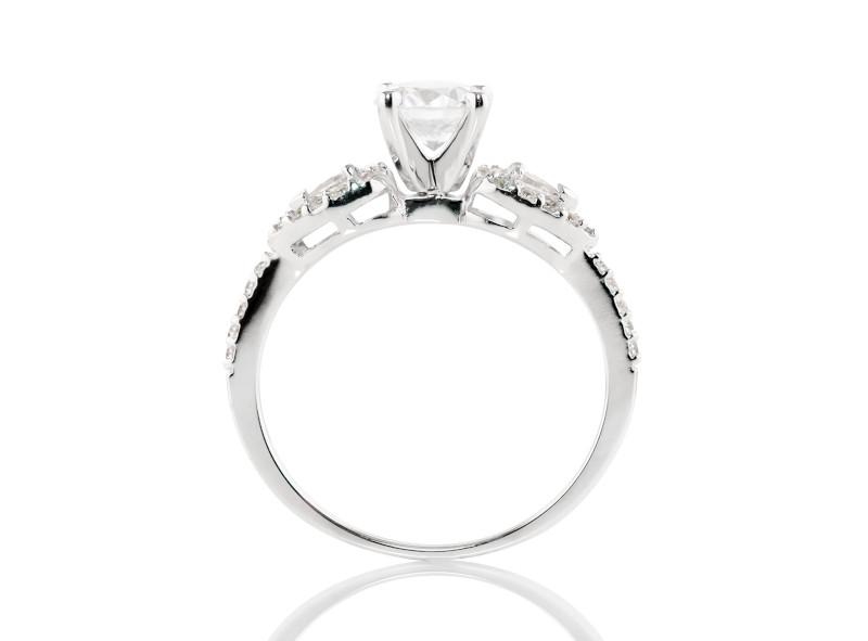Anillo de compromiso de oro blanco de 14kt<br>Diamante  round de 0.19 quilates, Color-G,Claridad-SI1,Diamante Mejorado-None