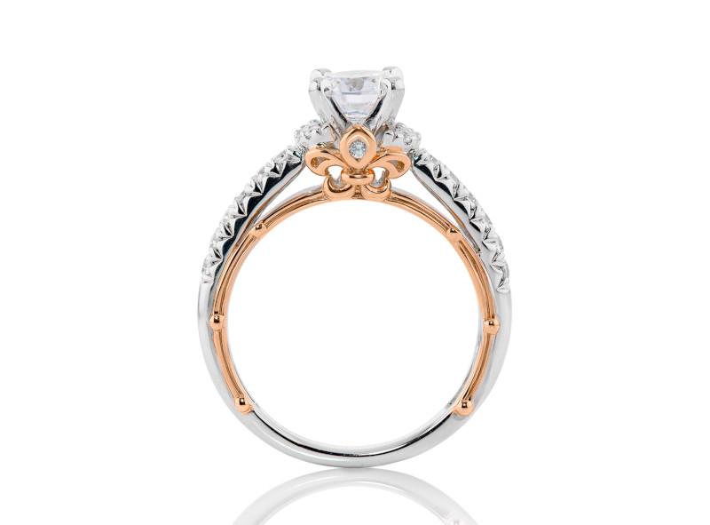 Anillo de compromiso de oro blanco & rosa de 14k<br>Diamante  round de 0.15 quilates, Color-H,Claridad-VS1,Diamante Mejorado-None