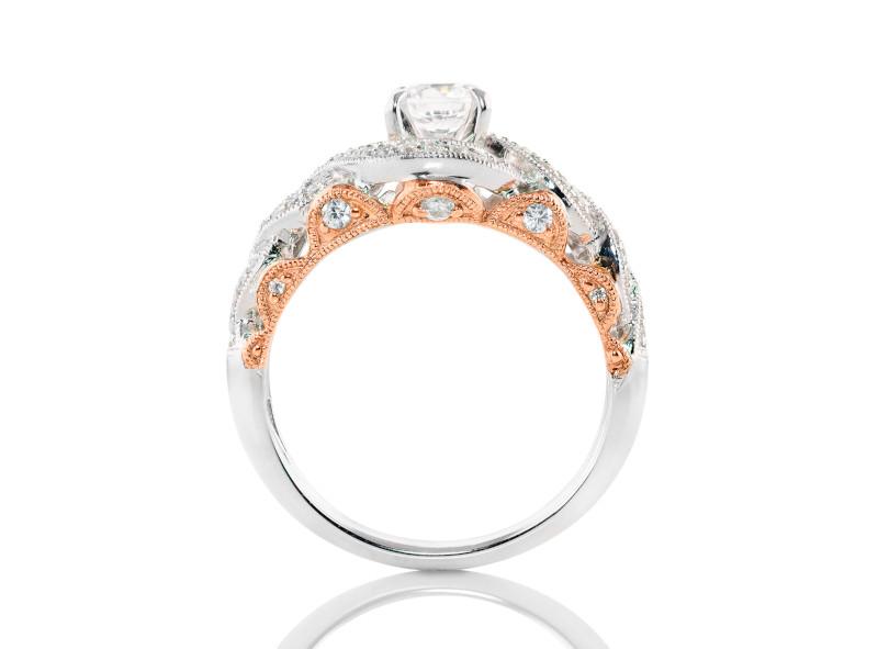 Anillo de compromiso de oro blanco & rosa de 14k<br>Diamante  round de 0.19 quilates, Color-G,Claridad-SI1,Diamante Mejorado-None