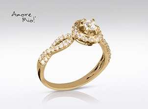 Anillo de compromiso de oro de 14k, con diamante central de:  0.19 puntos color- G claridad- VS1