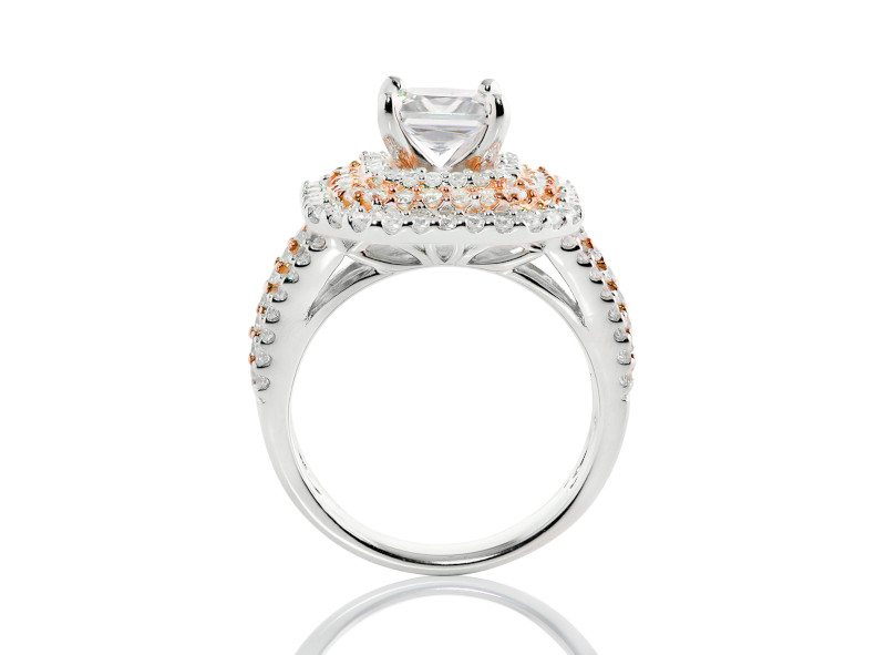 Anillo de compromiso de oro blanco & rosa de 14k<br>Diamante  princess de 0.91 quilates, Color-H,Claridad-VVS1,Diamante Mejorado-None