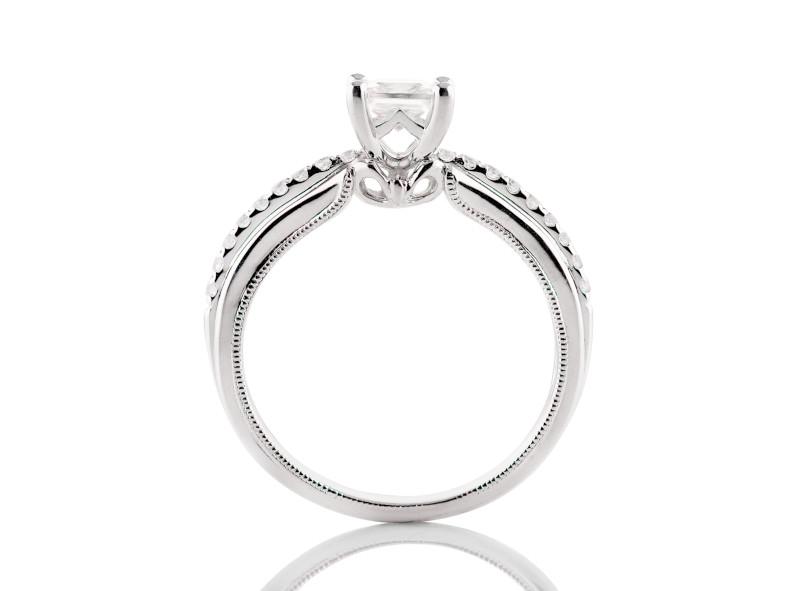 Anillo de compromiso de oro blanco de 14kt<br>Diamante  round de 0.41 quilates, Color-Black,Claridad-I1,Diamante Mejorado-None