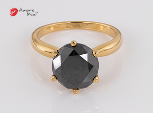 Anillo de compromiso de oro de 18k, con diamante central de: 4.60 Puntos Color- Black Claridad- N/A (13/87)
