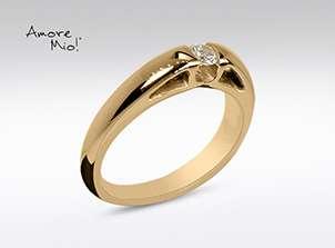 Anillo De Oro De 14kt, Con Diamante Central De: 0.14 Puntos Color-  D Claridad-  VS1