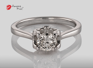 Anillo de compromiso de oro de 18k, con diamante central de:  0.53 Puntos Color- G Claridad- VS2