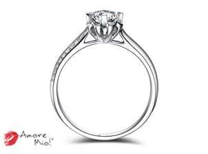 Anillo de compromiso de oro de 18k, con diamante central de:  0.31 Puntos Color- G Claridad- SI1
