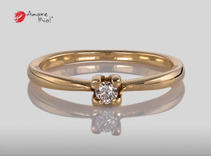 14kt Gold Ring with Round 0.08 H VS1 Diamond