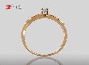 Anillo de compromiso de oro de 14k, con diamante central de: 0.10 H VS1 Diamond