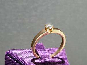 14kt Gold Ring with Round 0.17 H VS1 Diamond
