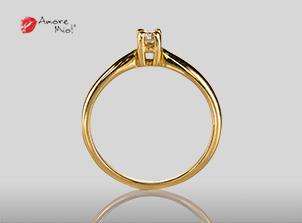 Anillo de compromiso de oro de 14k, con diamante central de: Un Diamante de 0.16 Color F Claridad VS1