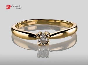 Anillo De oro de 14kt Con Un Diamante de 0.16 Color F Claridad VS1