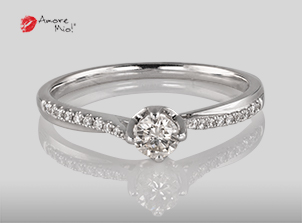 Anillo de compromiso de oro blanco de 18k con un diamante de: 0.19 puntos Color- I Claridad- SI1 (75/25)