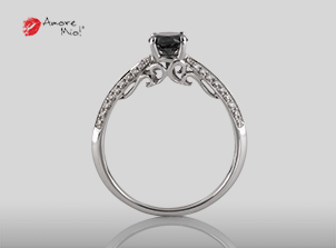 Anillo de compromiso de oro blanco de 18k con un diamante de: 0.44 puntos Color- Negro Claridad- N/A (72/28)