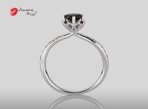 Anillo de compromiso de oro blanco de 18k con un diamante de: 0.44 puntos Color- Black Claridad- N/A (69/31)