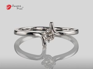 Anillo de compromiso de oro, con diamante central de: 0.15 Puntos Color- J Claridad- SI2