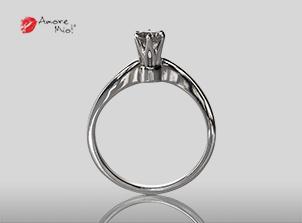 Anillo de compromiso de oro, con diamante central de: 0.33 Puntos Color- J Claridad- SI1 (35/65)
