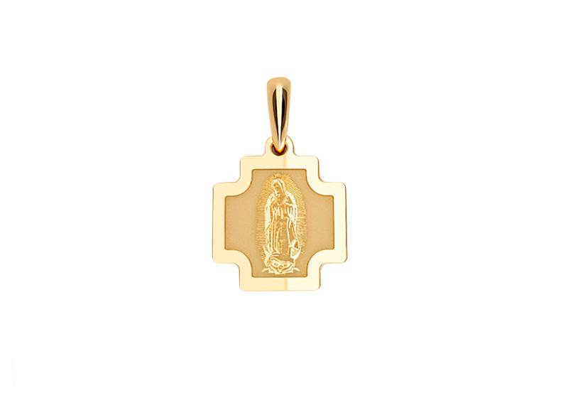 Medalla de oro de 14kt en forma de cruz Virgen
