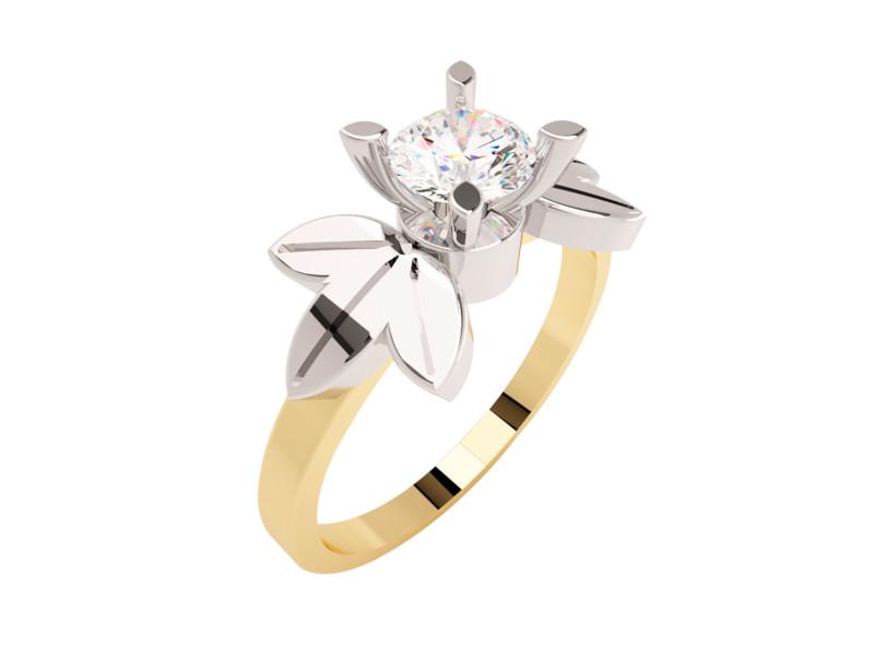 Montadura de oro de 14kt<br>Diamante  round de 0.36 quilates, Color-L,Claridad-VS2,Diamante Mejorado-None