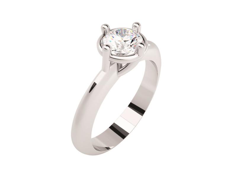 Montadura de oro de 14kt<br>Diamante  round de 0.42 quilates, Color-D,Claridad-VS2,Diamante Mejorado-Clarity Enhanced