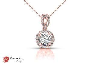 Dije de oro rosa de 18kt! con diamante<br>Diamante  round de 0.26 quilates, Color-I,Claridad-SI1,Diamante Mejorado-None