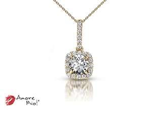 Dije de oro amarillo de 18kt! con diamante<br>Diamante  round de 0.40 quilates, Color-D,Claridad-SI1,Diamante Mejorado-Clarity Enhanced