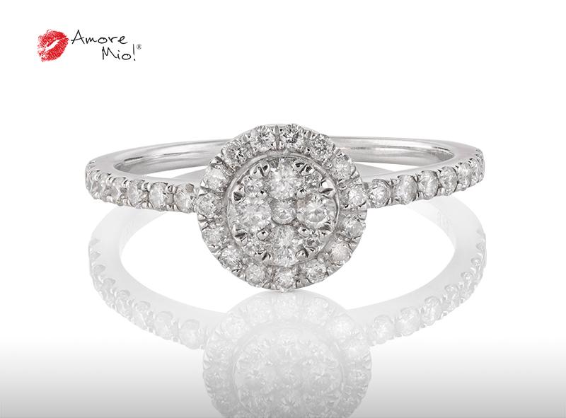 Anillo de compromiso de oro de 14k, con diamante central de: