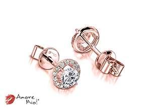 Aretes de oro rosa de 18kt! 1.00 a 1.25 cts.<br>Diamante  round de 0.21 quilates, Color-D,Claridad-VS2,Diamante Mejorado-None